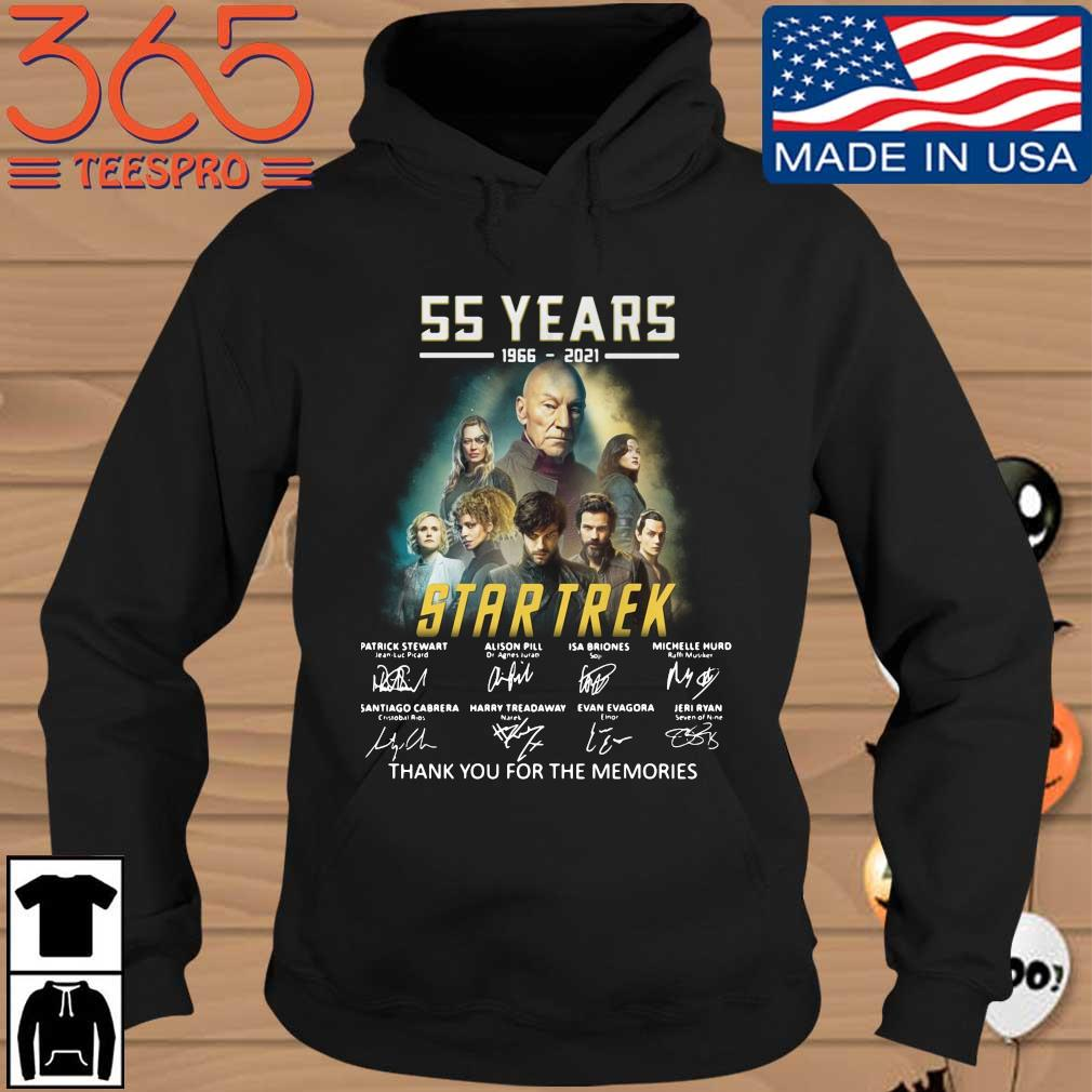 55 years 1966 2021 Star Trek signatures thank you for the memories Hoodie den