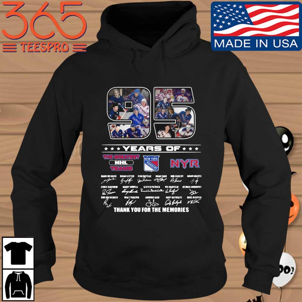 Official 95 years of NYR the greatest NHL teams thank you for the memories signatures Hoodie den