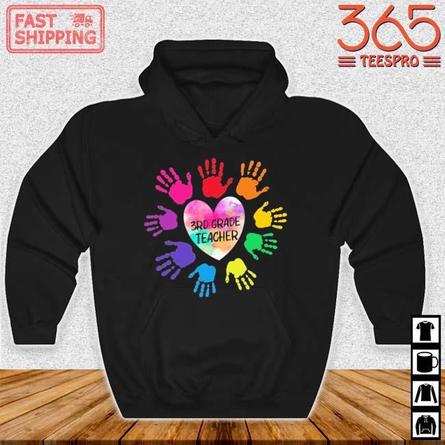 Hands Heart 3rd Grade Teacher Color Shirt Hoodie den