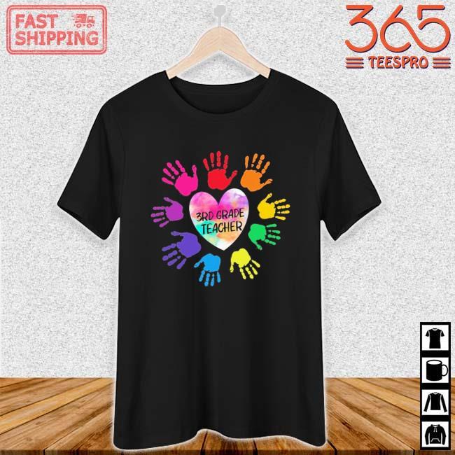 Hands Heart 3rd Grade Teacher Color Shirt Ladies den
