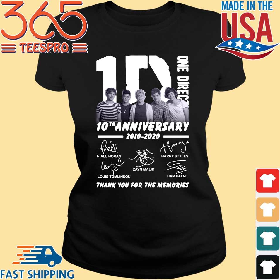 1d one direction 10th anniversary 2010 2020 thank you for the memories signatures tee shirt