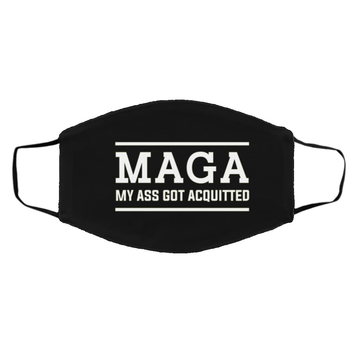 Maga My Ass Got Acquitted, Black, Cloth Face Cover – Medium/Large