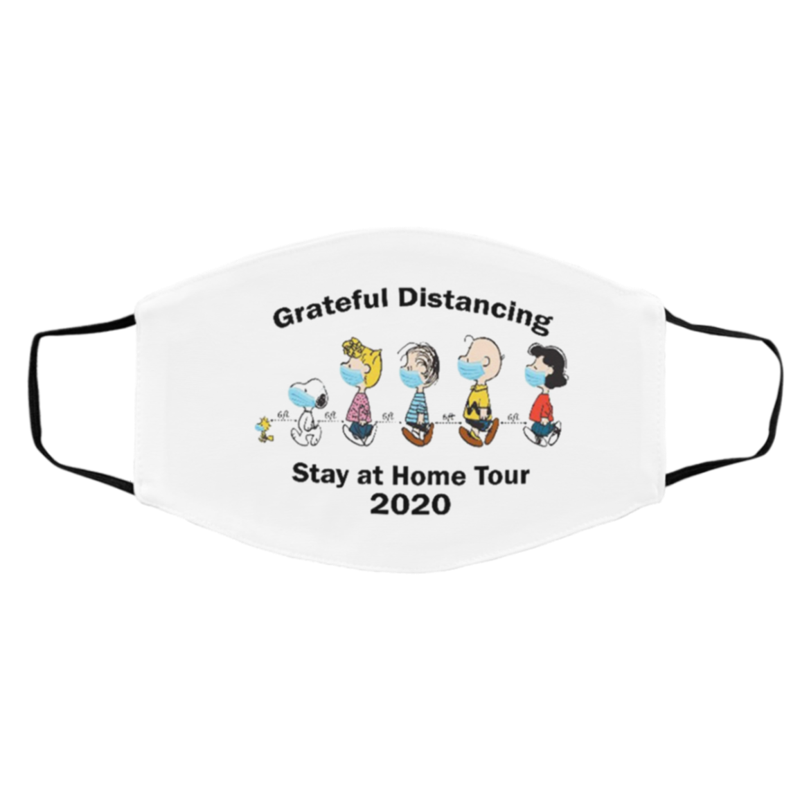 Gra-teful Dist-ancing Stay At Home Tour 2020 Snoopy Charlie Brown Face Mask Filter